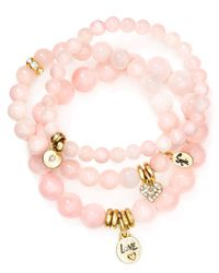 Sequin | Pink Love Heart Bracelets, Set Of 3 | Lyst