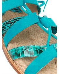 Paul Andrew - Blue Tempest Suede And Snakeskin Flat Sandals - Lyst