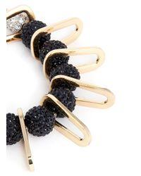 Venna - Black Chain Link Spacer Pavé Bead Bracelet - Lyst