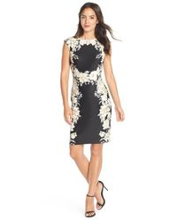 Chetta B | Black Placed Floral Print Scuba Sheath Dress | Lyst