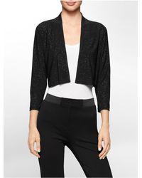 Calvin Klein - Black White Label Tonal Shimmer Shrug - Lyst