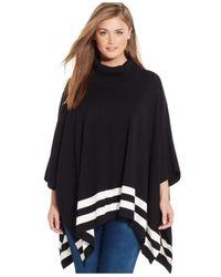 Calvin Klein | Black Plus Size Striped Poncho Sweater | Lyst