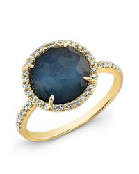 Anne Sisteron - Blue 14kt Yellow Gold Dark Azul Diamond Round Cocktail Ring - Lyst