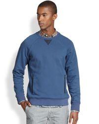 Vince - Blue Nylon-Detail Cotton Sweatshirt for Men - Lyst