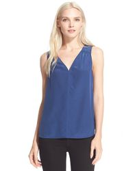 Trina Turk | Blue Mavy V-Neck Silk Top | Lyst