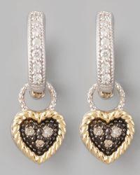 Jude Frances | Metallic Diamond Heart Earring Charms | Lyst