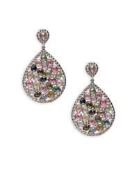 Bavna   Champagne Diamond, Multicolor Tourmaline & Sterling Silver Earrings   Lyst