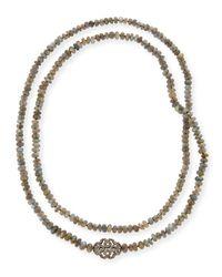 Siena Jewelry | Metallic Labradorite & Diamond Station Long Necklace | Lyst