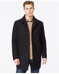 Kenneth Cole | Black Wool-blend Tweed Walker Coat for Men | Lyst