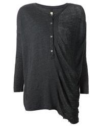 Raquel Allegra | Black Longsleeved Henley T-shirt | Lyst