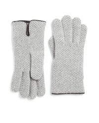 Portolano | Gray Leather-trim Honeycomb Stitched Cashmere Gloves | Lyst