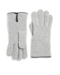 Portolano - Gray Leather-trim Honeycomb Stitched Cashmere Gloves - Lyst
