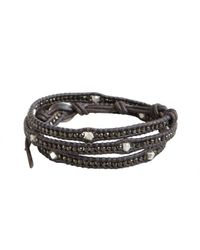 Chan Luu | Gray Grey Leather Silver Nugget Beaded Wrap Bracelet for Men | Lyst
