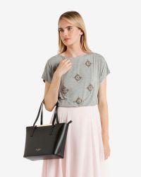 Ted Baker | Black Crosshatch Leather Small Shopper Bag | Lyst