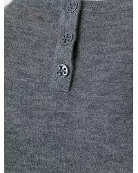 Tory Burch - Gray Contrast Hem Sweater - Lyst