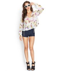 Forever 21 - Multicolor Cutout Floral Woven Top You've Been Added To The Waitlist - Lyst