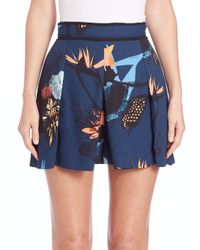Proenza Schouler - Blue Floral-print Pleated Shorts - Lyst