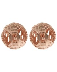 Alex Monroe - Pink Rose Gold-plated Peacock Feather Stud Earrings - Lyst