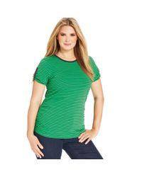 Michael Kors - Green Shortsleeve Striped Ruched Tee - Lyst