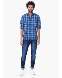 Mango - Blue Slim-fit Check Shirt for Men - Lyst
