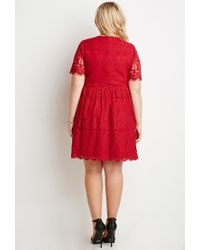 Forever 21 - Red Plus Size Eyelash Lace Fit & Flare Dress - Lyst
