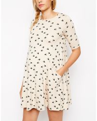 ASOS - Natural Swing Dress With Pockets In Bird Print With Half Sleeve - Lyst
