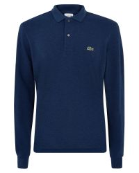 Lacoste | Blue Long Sleeve Ribbed Collar Polo for Men | Lyst