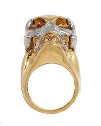 Alexander McQueen | Metallic Gold And Swarovski Crystal Skull Detail Ring | Lyst