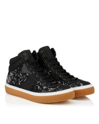 Jimmy Choo - Belgravia Black Large Check Frayed Denim High Top Trainers for Men - Lyst