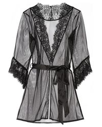 L'Agent by Agent Provocateur | Black Idalia Lace-Trimmed Tulle Robe | Lyst