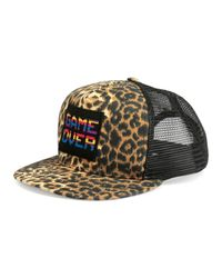 "Saint Laurent - Brown Leopard-print ""game Over"" Flat-bill Hat - Lyst"