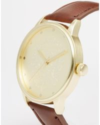ASOS - Watch With Embossed Face In Brown for Men - Lyst