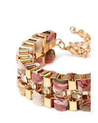 Forever 21 | Pink Woven Box Chain Bracelet | Lyst