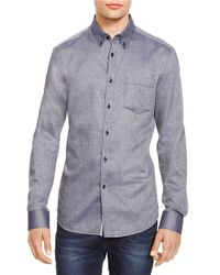 Kenneth Cole | Blue Textured Button-down Sportshirt for Men | Lyst