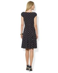Lauren by Ralph Lauren - Black Petite Polka Dot Print Dress - Lyst
