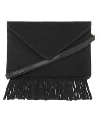 Oasis - Black Suede Sally Anne Crossbody - Lyst