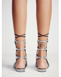 Free People - Metallic Lina Lace Up Gladiator Sandals - Lyst