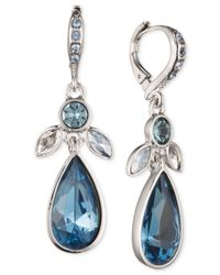 Givenchy | Metallic Silver-tone & Blue Stone Drop Earrings | Lyst