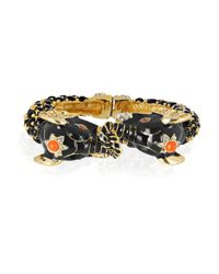 Kenneth Jay Lane | Black Enameled Swarovski Crystal Elephant Bangle | Lyst