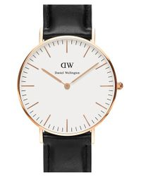 Daniel Wellington - Black 'classic Sheffield' Leather Strap Watch - Lyst
