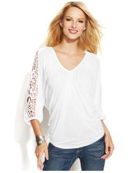 INC International Concepts - White Crochetsleeve Peasant Top - Lyst