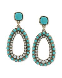 Carolee | Blue Antique Goldtone Turquoise Bead and Imitation Pearl Clipon Drop Earrings | Lyst