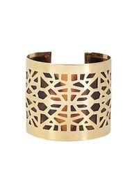 BCBGMAXAZRIA - Metallic Cut Out Fringe Detailed Cuff Bracelet - Lyst