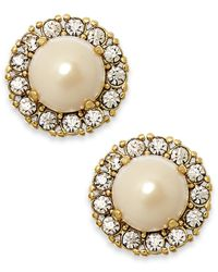 kate spade new york | Metallic Gold-tone Round Crystal Pearl Stud Earrings | Lyst