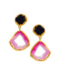 Kasturjewels | Purple 22kt Gold Plated Brass Rough Cut Semiprecious Stone Earrings | Lyst