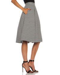 Nicholas - Black Stripped Ponti Ball Poly Blend Skirt - Lyst