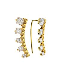 Tai | Metallic Gold-plated Crystal Crawler Earrings | Lyst