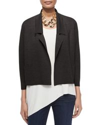 Eileen Fisher - Black Interlock Boxy Short Jacket - Lyst