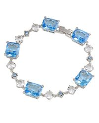 Carolee | Silvertone Crystal and Blue Stone Link Bracelet | Lyst