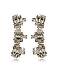 Ca&Lou | Metallic Silver Plated With Swarovski Crystals Lou Lou Lobo Earcuffs | Lyst